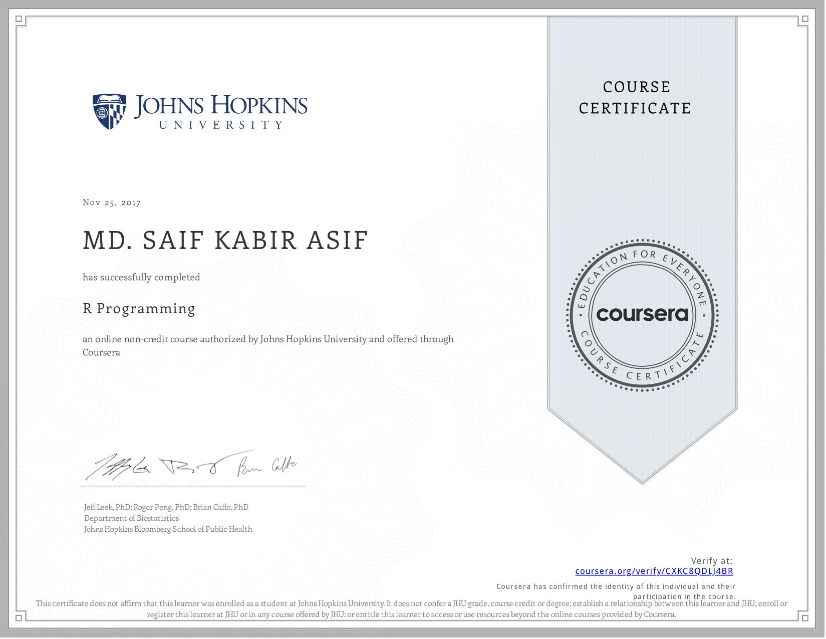 View certificate for Md. Saif Kabir  Asif, R Programming, an online non-credit course authorized by  & Johns Hopkins University and offered through Coursera