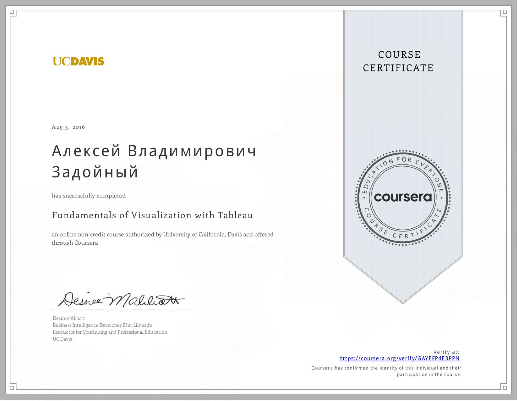 View certificate for Алексей Владимирович Задойный, Fundamentals of Visualization with Tableau, an online non-credit course authorized by  & University of California, Davis and offered through Coursera