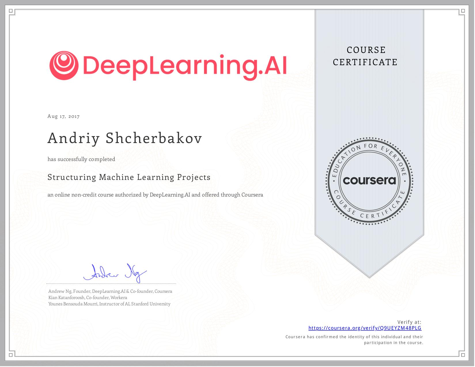 View certificate for Andriy Shcherbakov, Structuring Machine Learning Projects, an online non-credit course authorized by  & deeplearning.ai and offered through Coursera